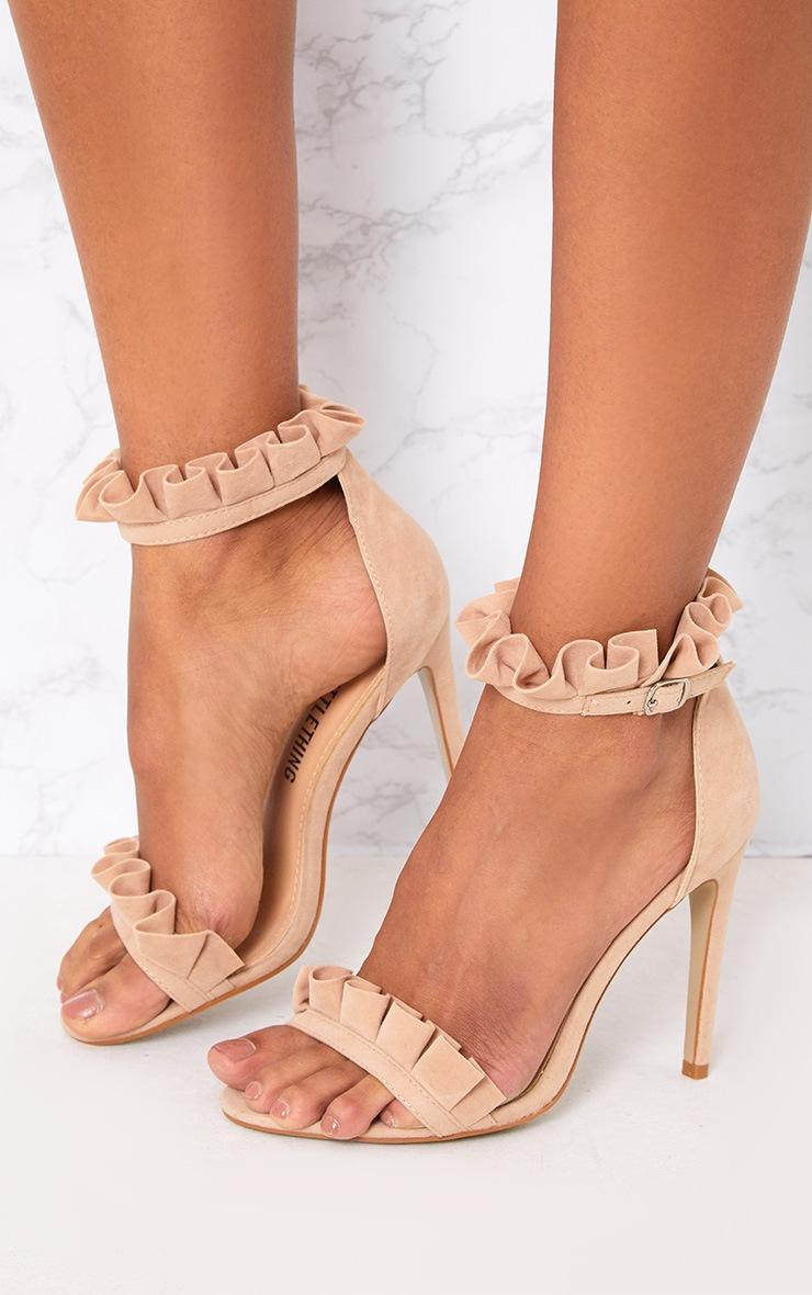 Nude Frill Strap Heels 2