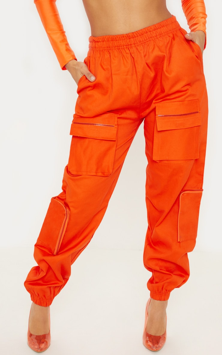Neon Orange 3D Pocket Cargo Pants 2
