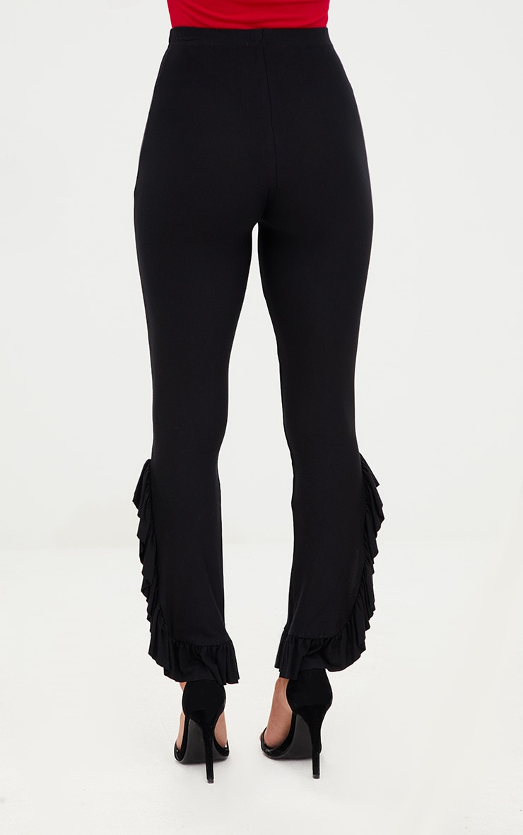 Petite Black Frill Leg Cropped Trousers 3