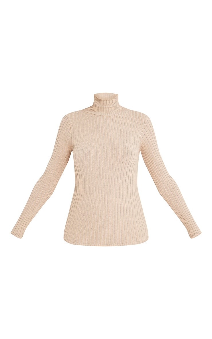 Ulanie Stone Turtle Neck Ribbed Knitted Jumper 3