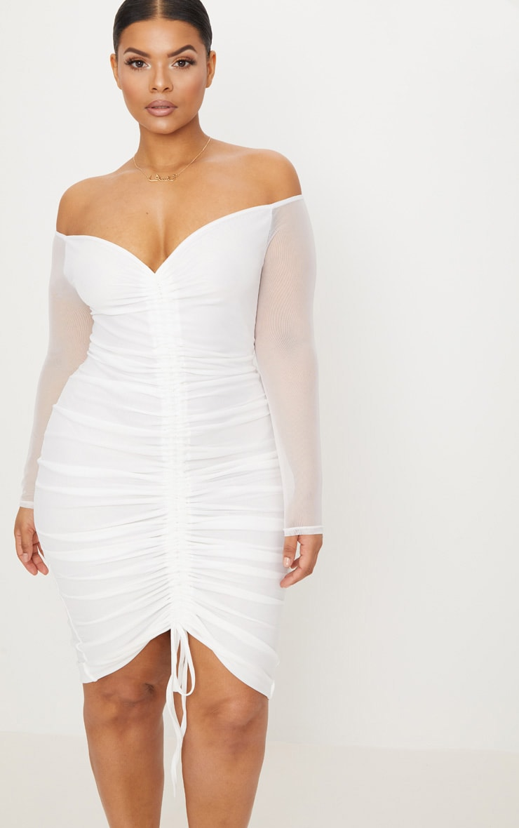 Plus White Mesh Ruched Bardot Midi Dress