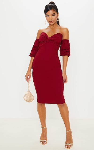 Scarlet Bardot Twist Detail Midi Dress
