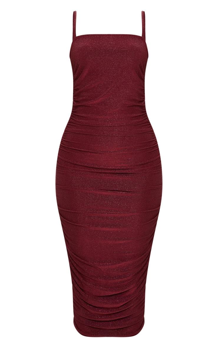 Petite Burgundy Textured Glitter Ruched Midi Dress 3