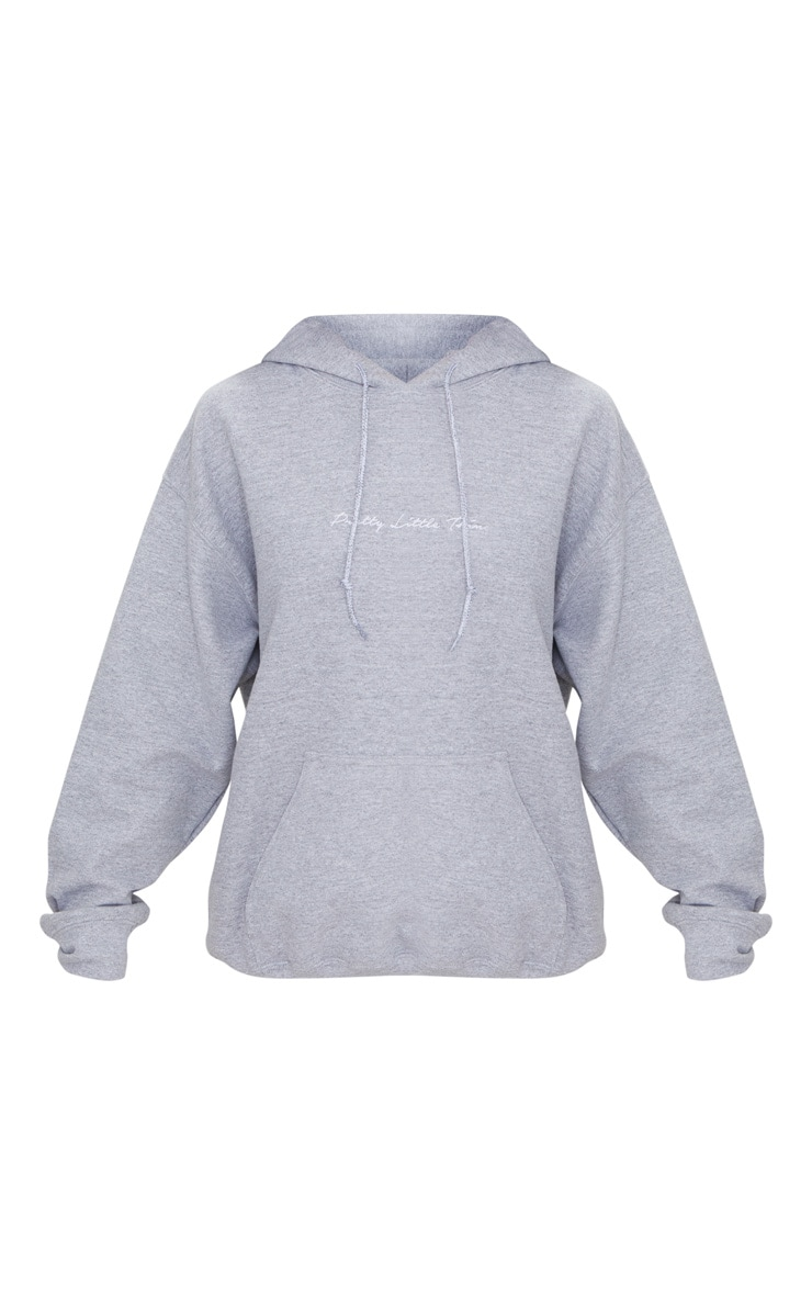 PRETTYLITTLETHING Grey Marl Embroidered Oversized Hoodie 3