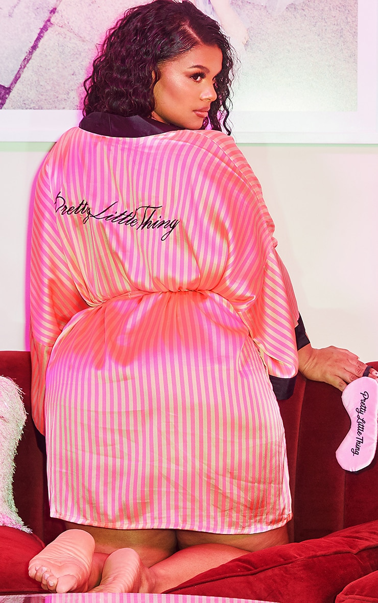 PRETTYLITTLETHING Plus Pink Stripe Satin Robe 1