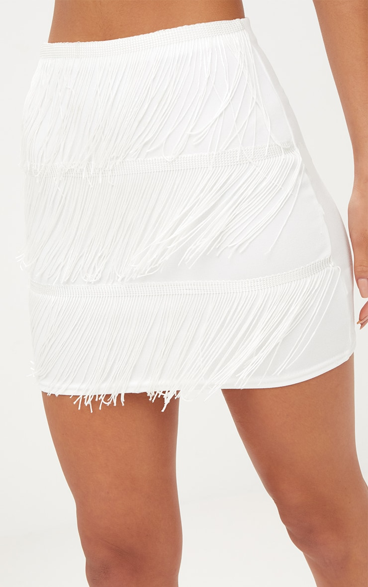 White Tassel Mini Skirt 6