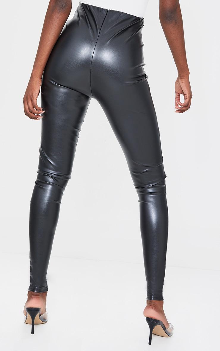 Tall Black Basic Faux Leather High Waist Leggings 3