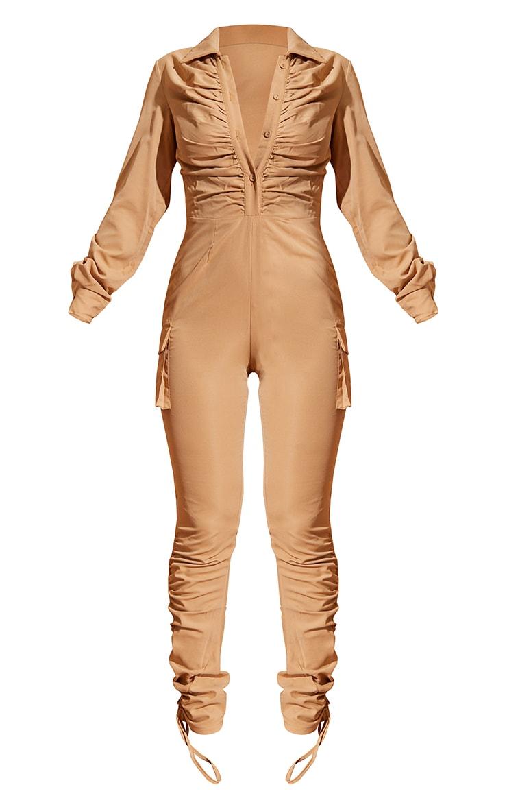 Camel Ruched Shirt Detail Utility Jumpsuit 5