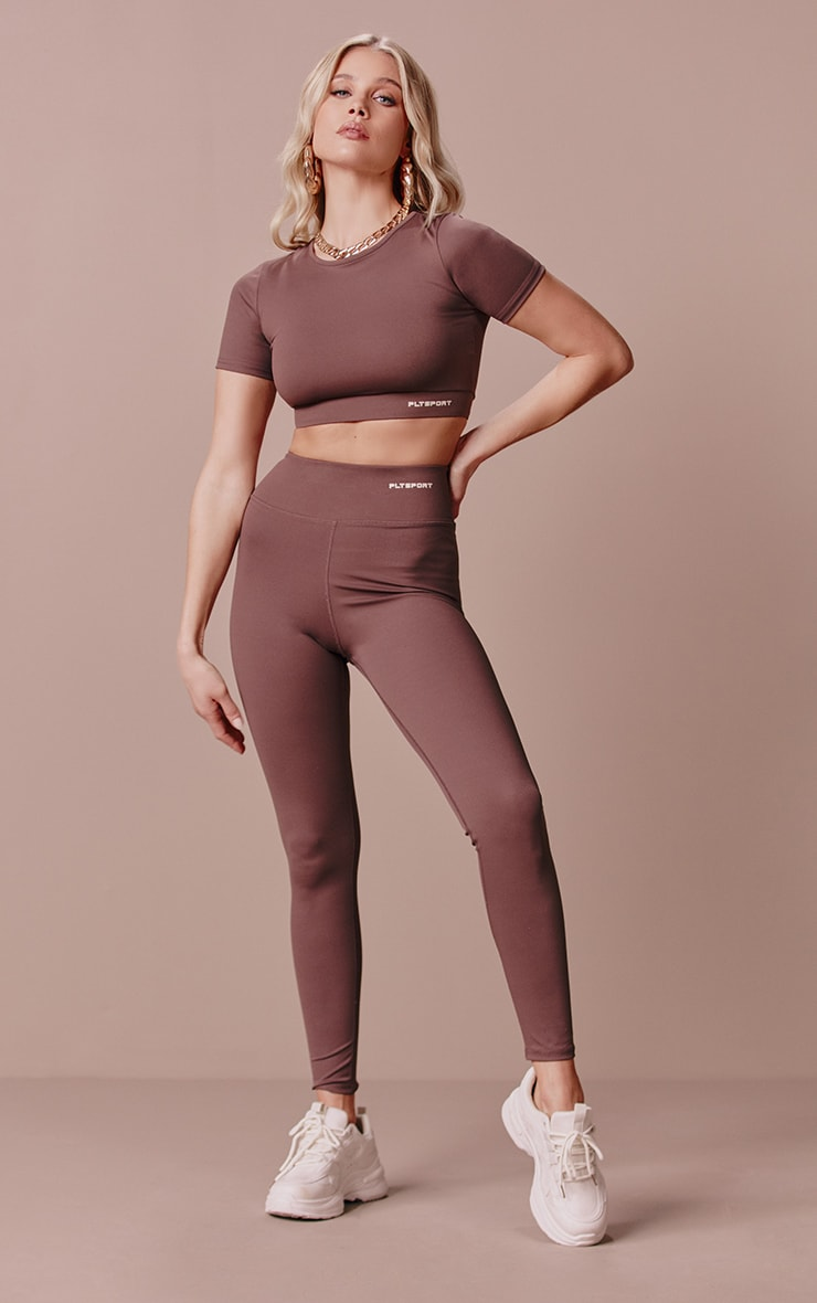 PRETTYLITTLETHING Chocolate Sculpt Luxe Gym Leggings 4