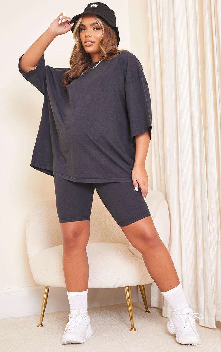 Maternity Acid Wash Grey Bump Support Cotton Cycle Shorts 1