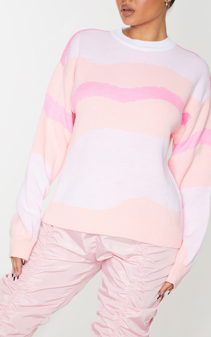 Pink Colour Block Swirl Knitted Sweater 4