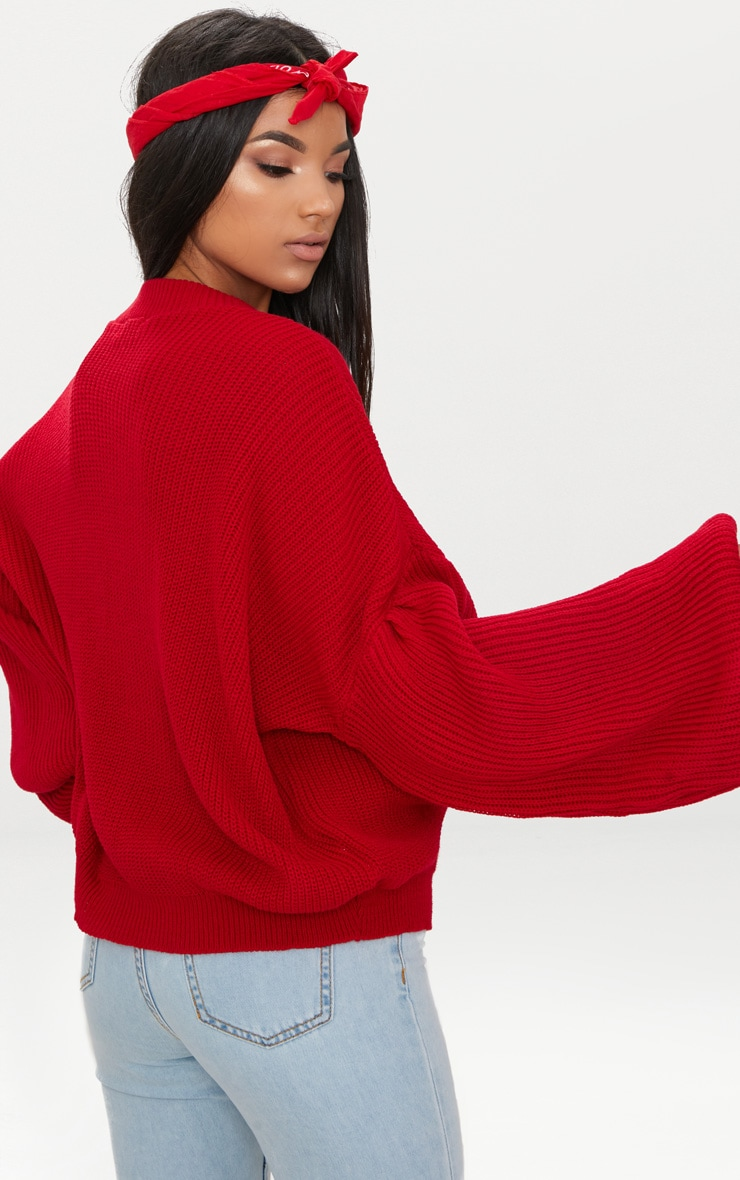 Red Extreme Balloon Sleeve Jumper 2