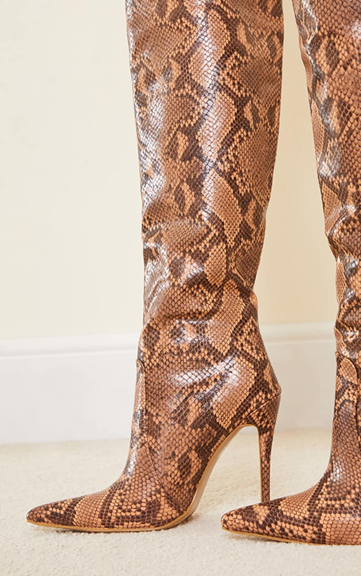 Snake Matte Pu Calf Stiletto Heeled Boots 3