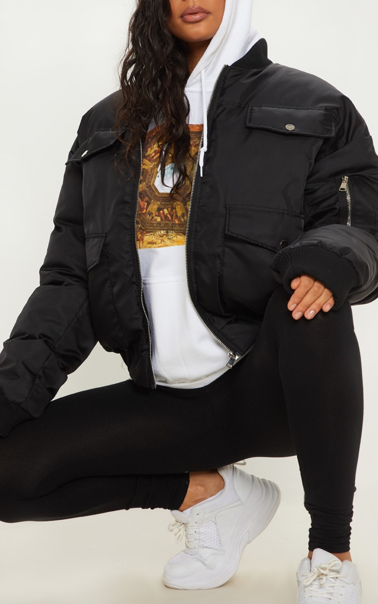 Black Oversized Bomber  4