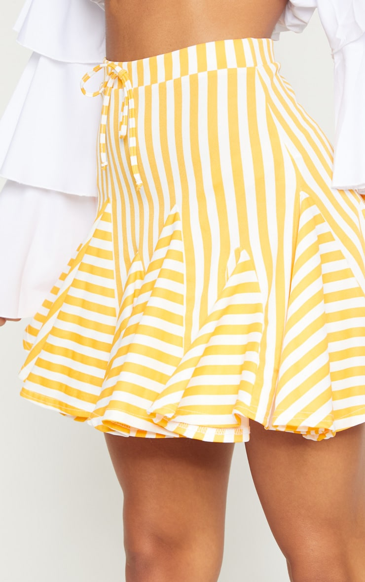 Orange Stripe Full Hem Mini Skirt 6
