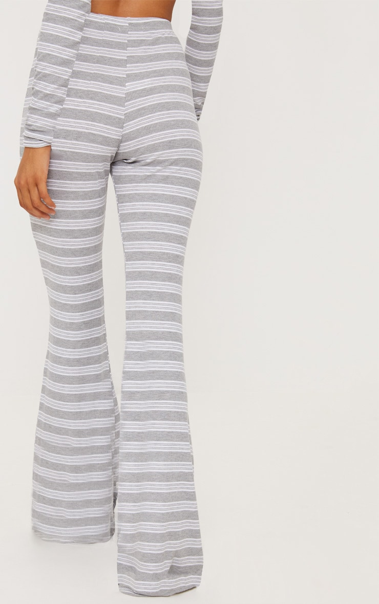 Pale Grey Ribbed Stripe Flare Trouser 4