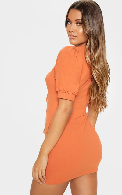 Rust Lace Up Pocket Front Utility Dress
