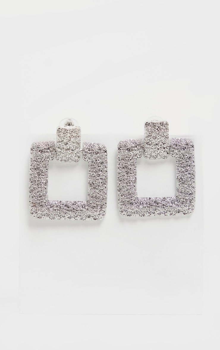 Silver Textured Square Door Knocker Earrings 2