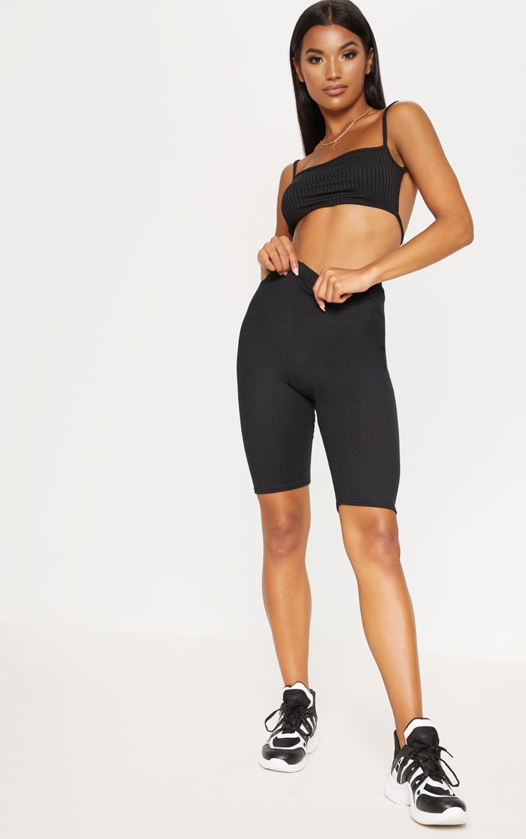 Black Rib Longline Cycle Short 5