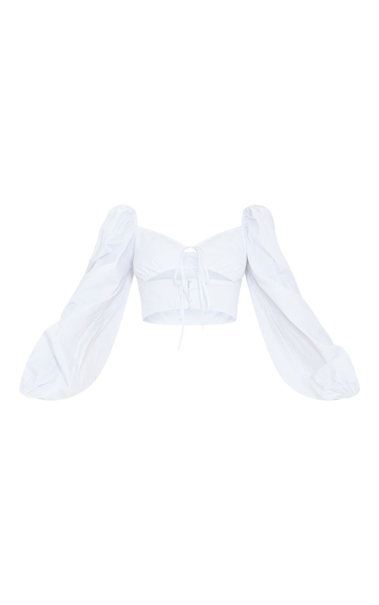 Tall White Cut Out Tie Front Bardot Cropped Blouse 5