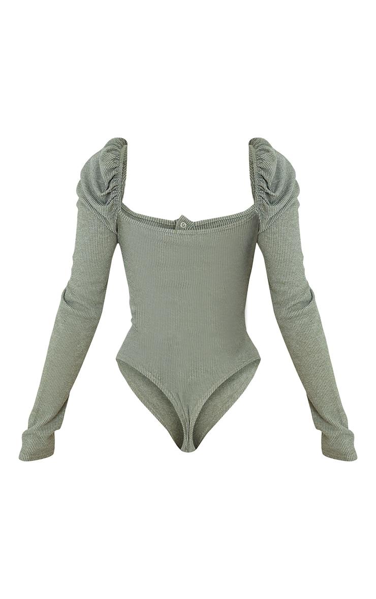 Khaki Marl Rib Puff Long Sleeve Bodysuit 6