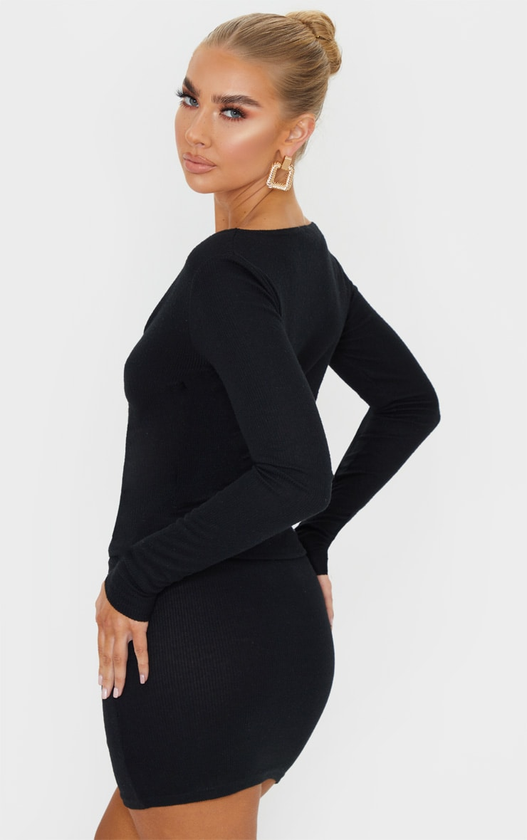 Black Soft Brushed Rib Double Zip Front Top 2
