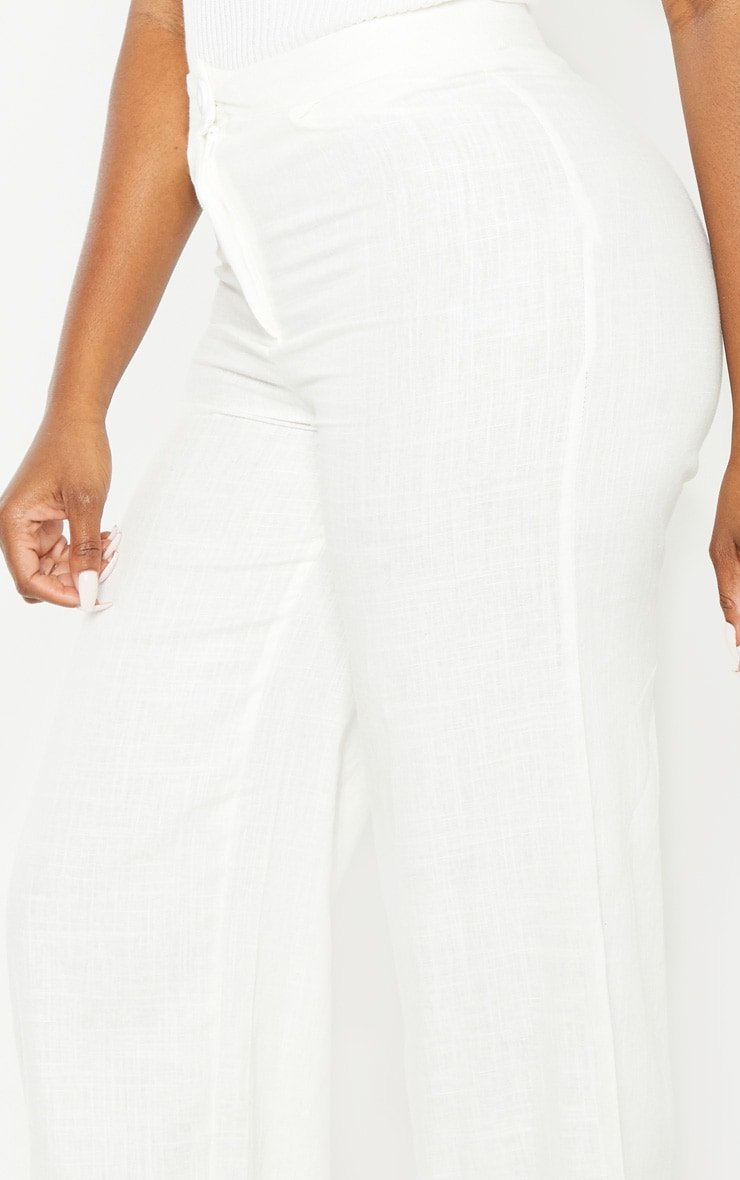 Petite White Wide Leg High Waisted Trouser 5