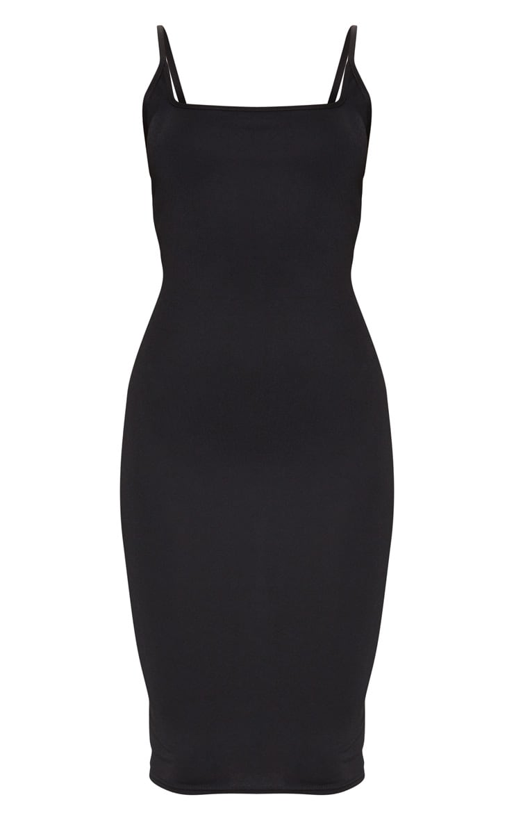 Black Square Neck Strappy Midi Dress 5