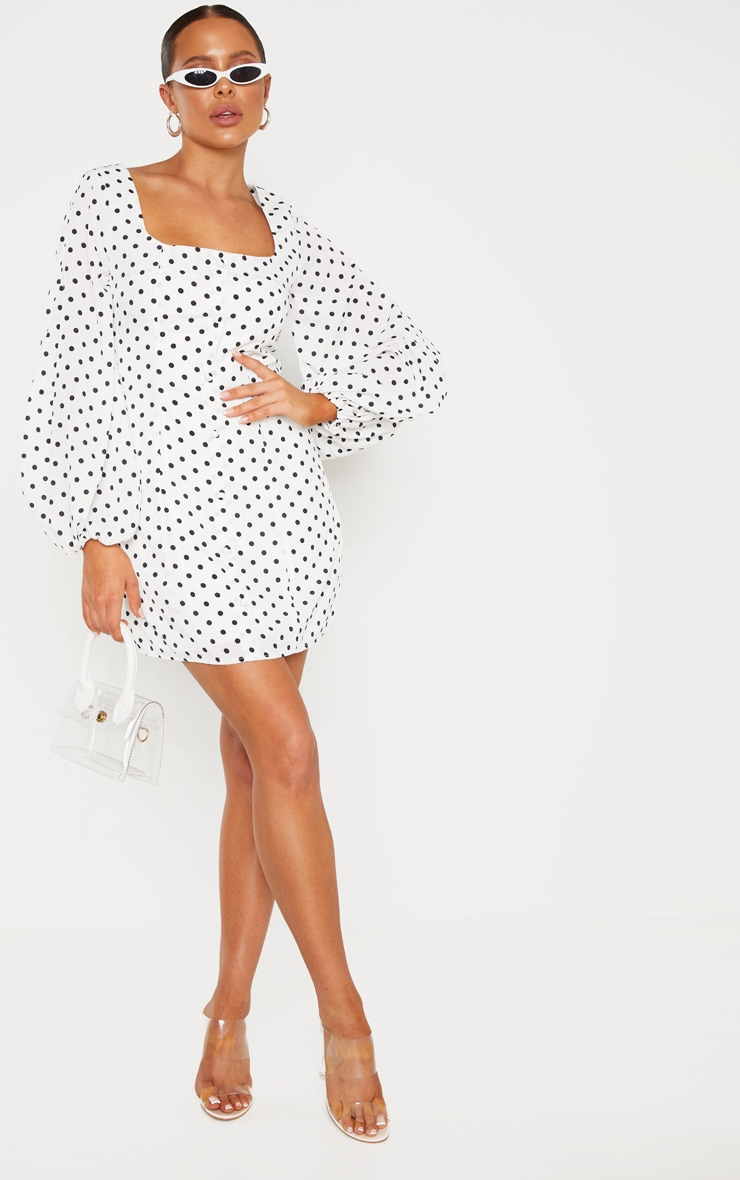 White Polka Dot Square Neck Bodycon Dress 4