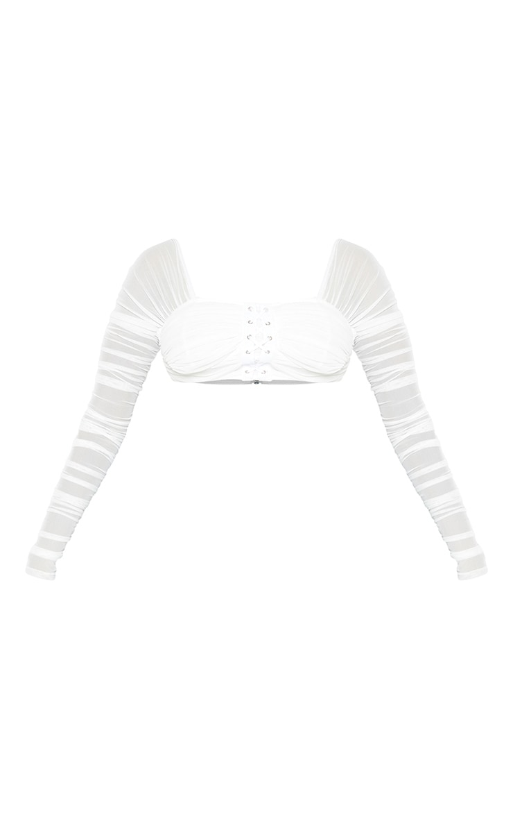 Petite White Ruched Lace Up Detail Mesh Crop Top 3