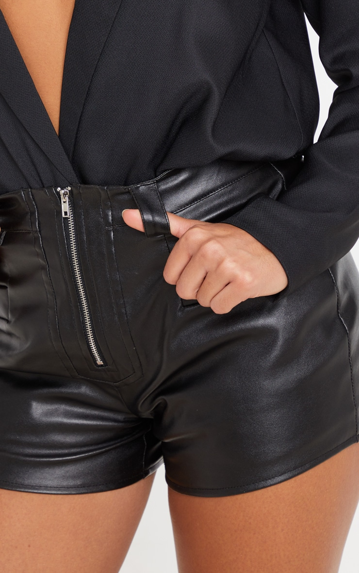 Black Faux Leather Zip Front Short 6