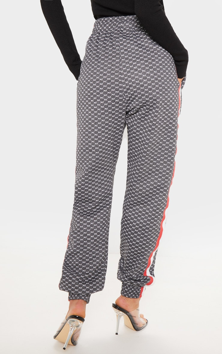 PRETTYLITTLETHING Charcoal Printed Contrast Tape Jogger 4