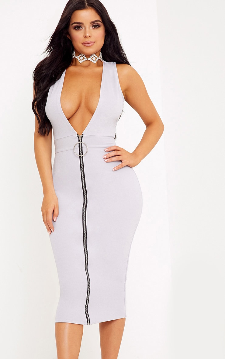Shape O-Ring Zip Skirt Midi Dress 1