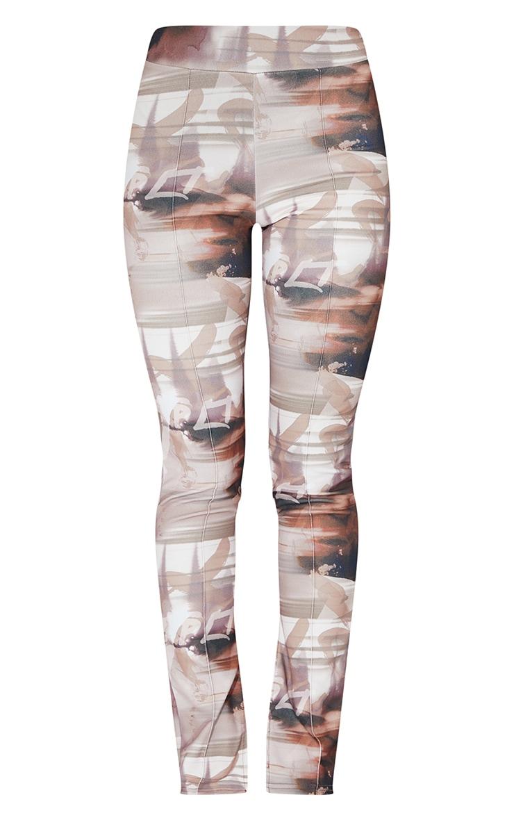 Brown Print Split Hem Detail Skinny Trousers 5