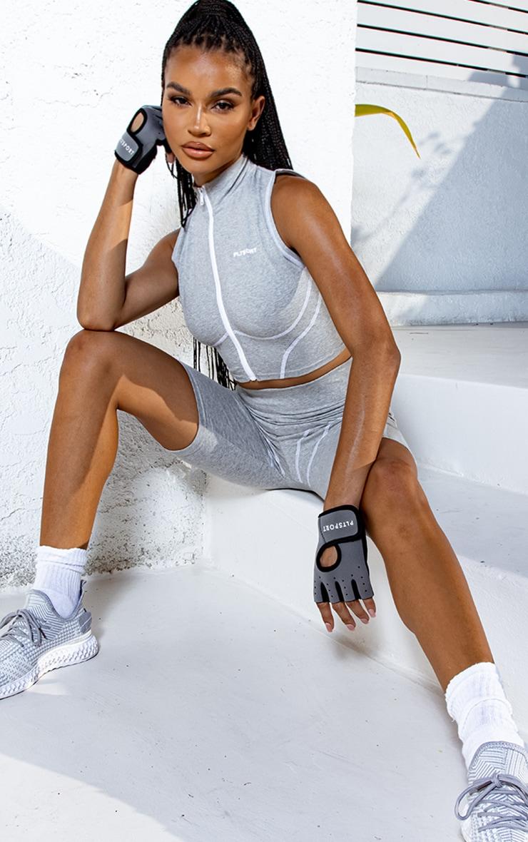 PRETTYLITTLETHING Grey Sport Zip Through Sleeveless Contrast Top 1