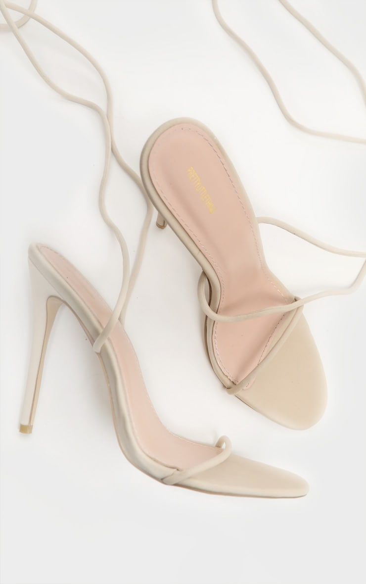 Nude Thigh High Lace Up Strappy Sandal 5