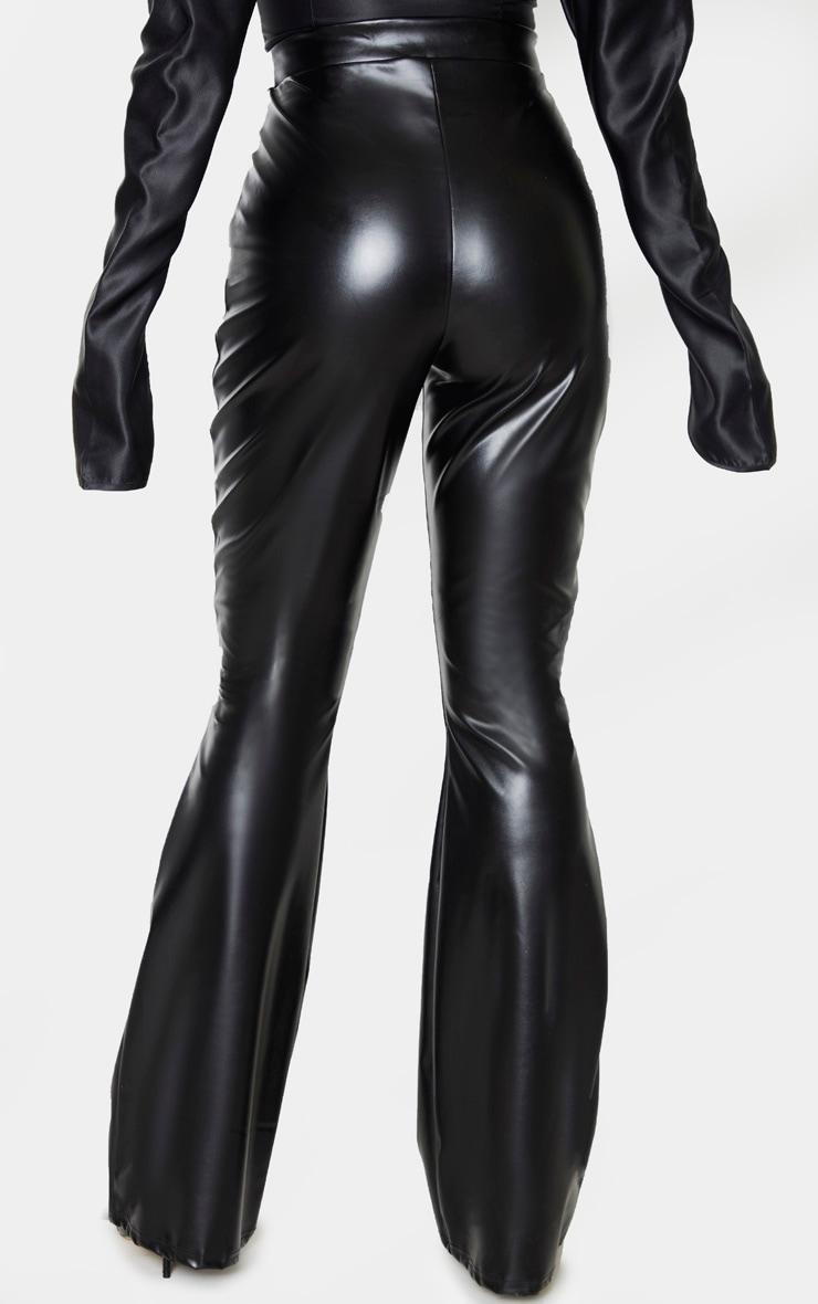 Tall Black PU Flare Trouser 3