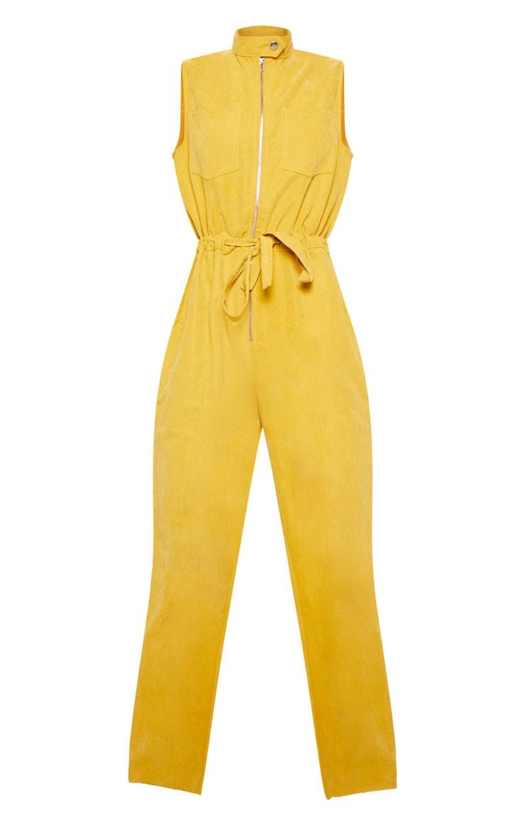 Mustard Faux Suede High Neck Zip Detail Jumpsuit 3