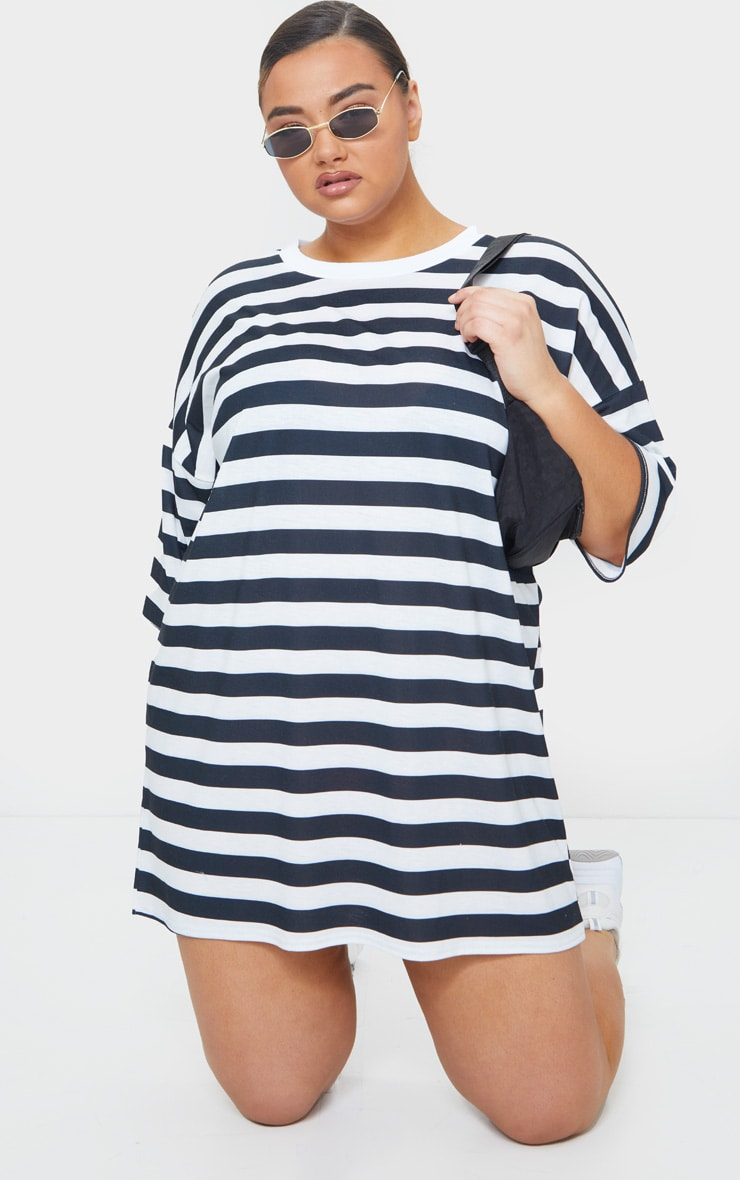 Plus Black Contrast Stripe Oversized Boyfriend T Shirt Dress 3
