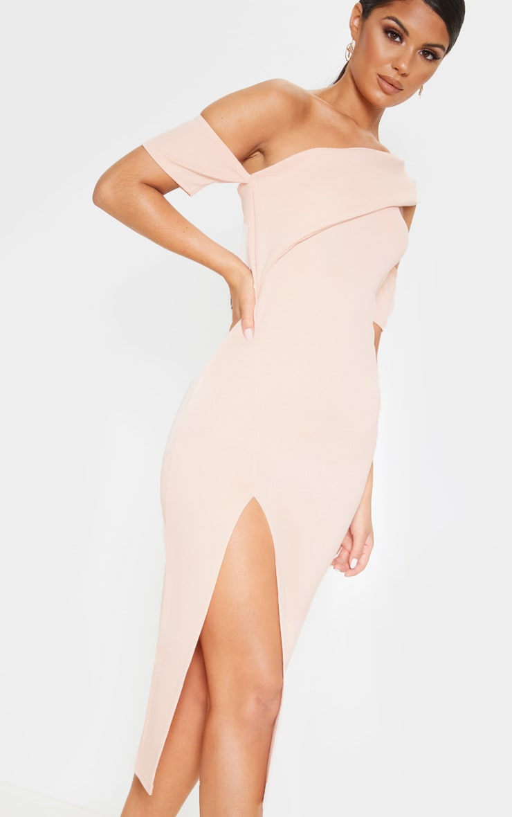 Nude Bardot Drape Detail Split Midi Dress 5