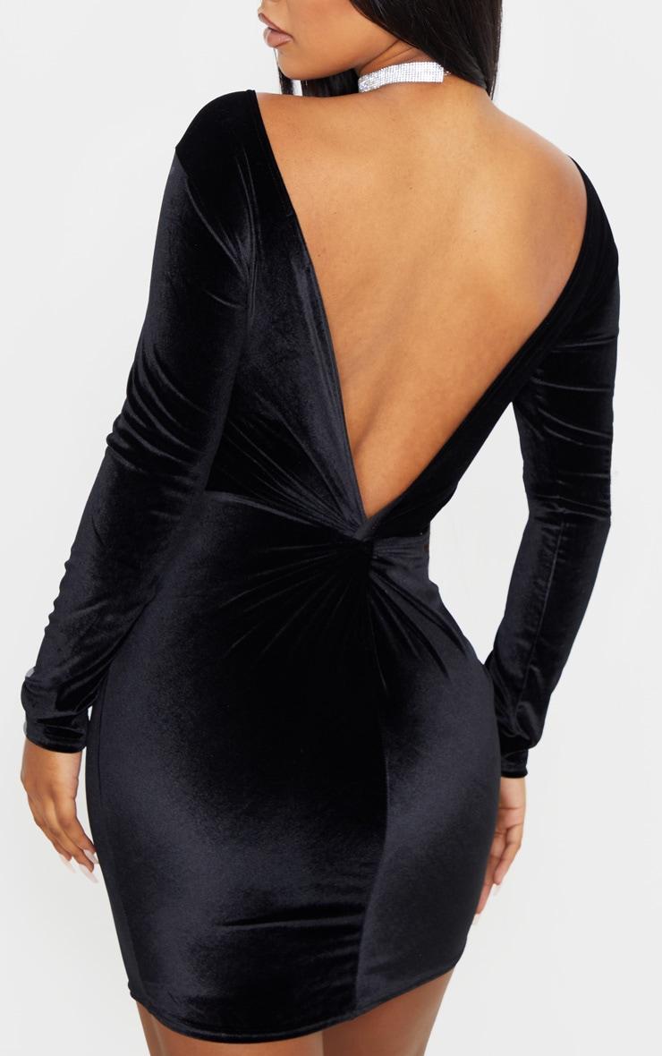 Black Velvet Long Sleeve Twist Back Bodycon Dress 5
