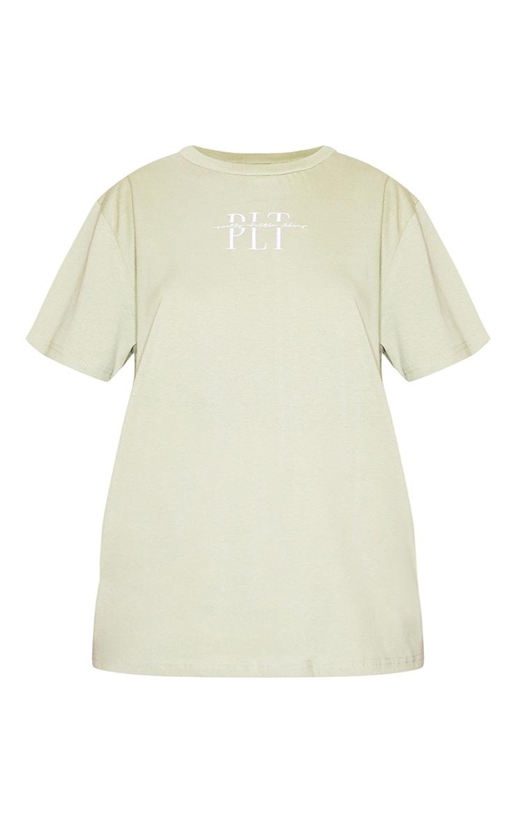 PRETTYLITTLETHING Sage Khaki Embroidered T Shirt 4