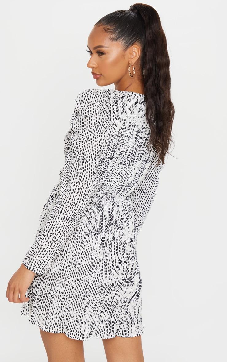 White Dalmatian Print Puff Sleeve Tea Dress 2