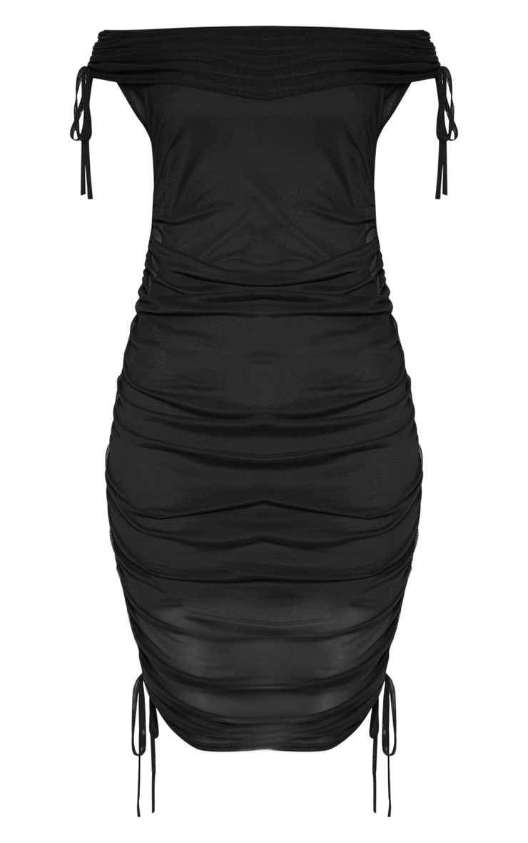 Black Mesh Ruched Side Bardot Bodycon Dress 3