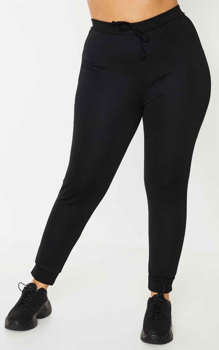 Plus Black Wide Rib Tie Waist Joggers 2