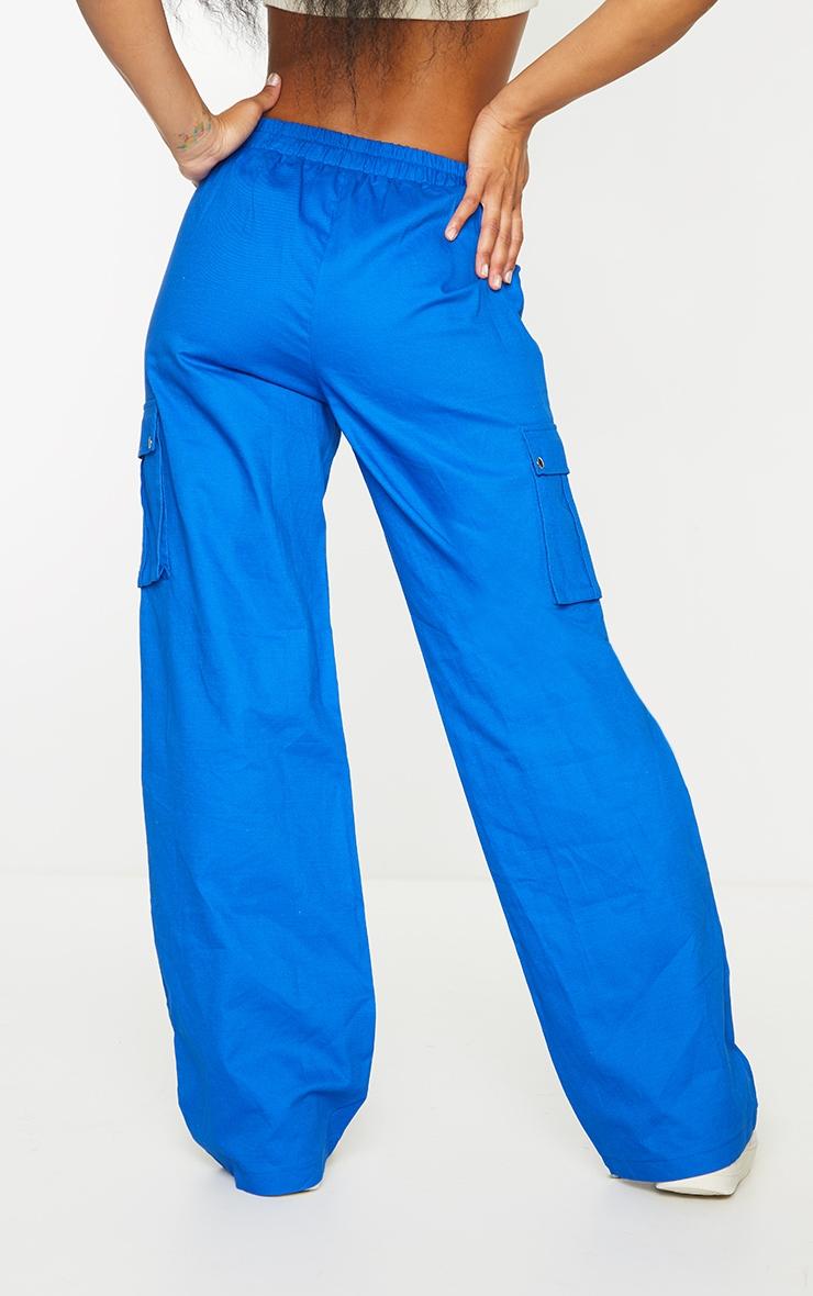 Cobalt Wide Leg Cargo Pants 3