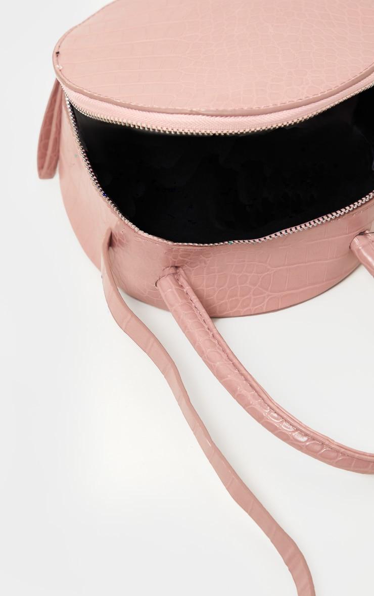 Pink Croc Round Cross Body Bag 3