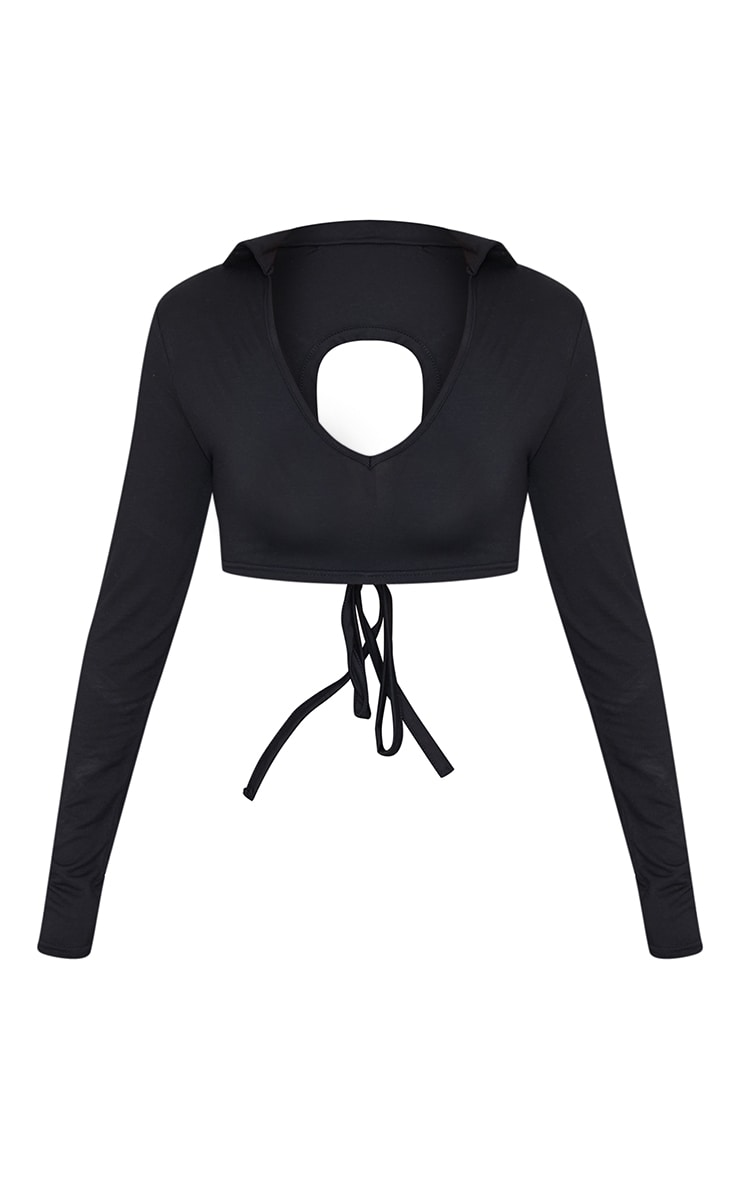 Black Jersey Long Sleeve Collar Cut Out Tie Back Crop Top 5