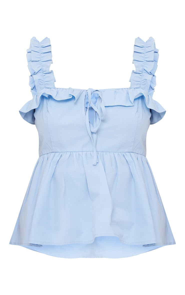 Blue Frill Detail Key Hole Cami Blouse  3