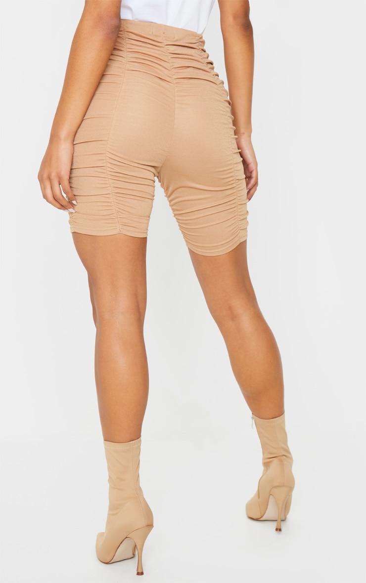 Camel Ruched Bike Shorts 4